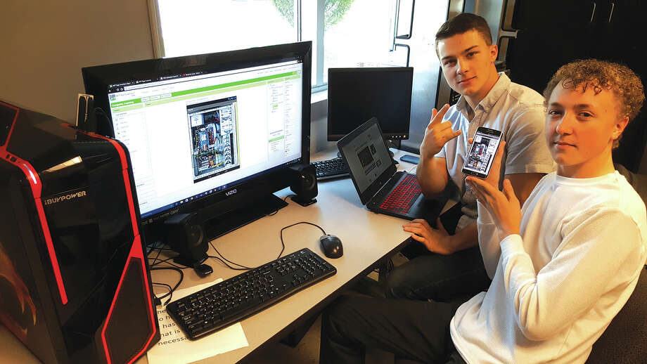 Ian McAtee and Seth Davey won the 13th Congressional District's top prize-winning application. The interactive app helps teach individuals about the purpose of different parts in a computer.