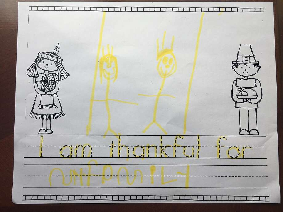 Vanessa Hua's son's Thanksgiving homework. Photo: Vanessa Hua