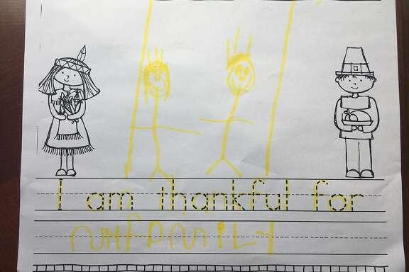 Vanessa Hua's son's Thanksgiving homework.