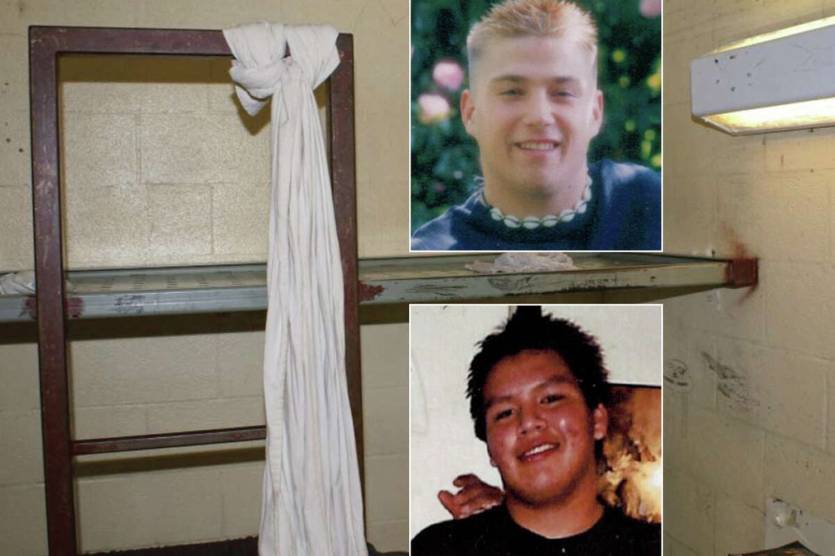 Jimi Johnson, bottom, was 27 when he killed himself at Mason County Jail on April 23, 2013. Two years later, on Sept. 16, 2015, Brandon Dahl did the same. Dahl's noose and cell at that Shelton jail are pictured above.