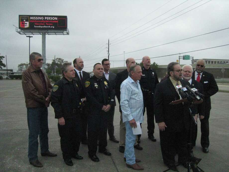 The Texas EquuSearch Mounted Search and Recovery Team, a nonprofit organization that spearheads recovery efforts for lost and missing persons, launched a new partnership with the Texas outdoor advertising industry including the Outdoor Advertising Association of Texas and OUTFRONT Media with the unveiling of the missing persons' message in Humble Wednesday, Dec. 14. Photo: Jennifer Summer