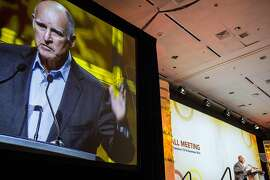 Governor Jerry Brown delivers an address Wednesday, Dec. 14, 2016 in San Francisco, CA at the American Geophysical Union's annual fall meeting.
