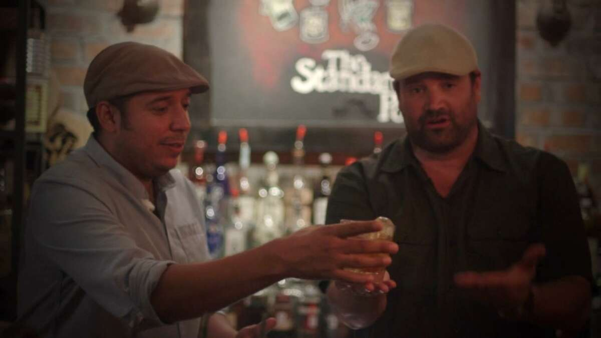 """In this screengrab from """"Mixin' It Up,"""" Jeret Peña visits with Brian McCullough of The Standard Pour in Dallas."""