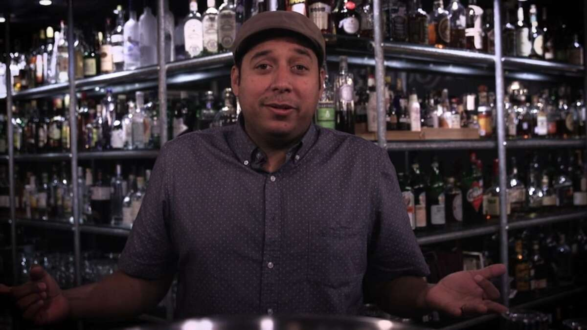 """In this screengrab from """"Mixin' It Up,"""" Jeret Peña wraps up the pilot episode at The Brooklynite in San Antonio."""