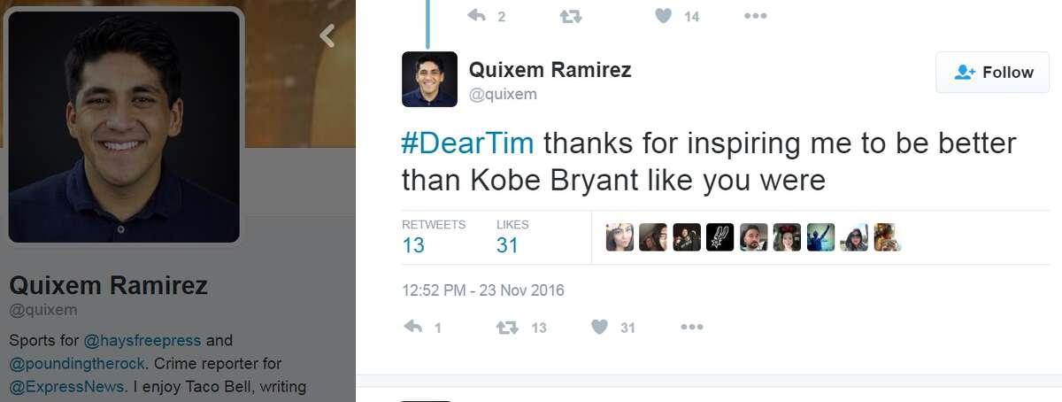 """#DearTim thanks for inspiring me to be better than Kobe Bryant like you were,"" @quixem."