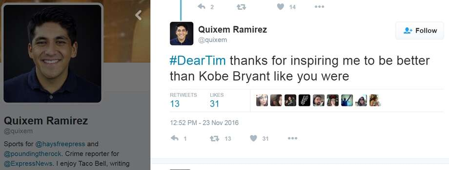 """#DearTim thanks for inspiring me to be better than Kobe Bryant like you were,"" @quixem. Photo: Twitter.com"