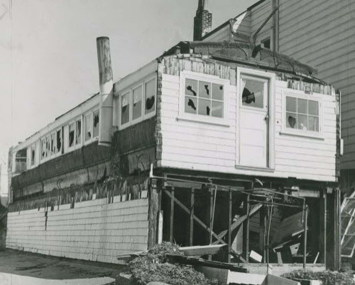 """Decommissioned Horse drawn """"Old 69"""" was purchased and turned into a house that was on 9th Avenue in San Francisco's Richmond District. In 1965, after the original owners died, the city condemned it, and tore it down for a parking lot for shoppers on Clement Street. From the San Francisco Chronicle archives."""