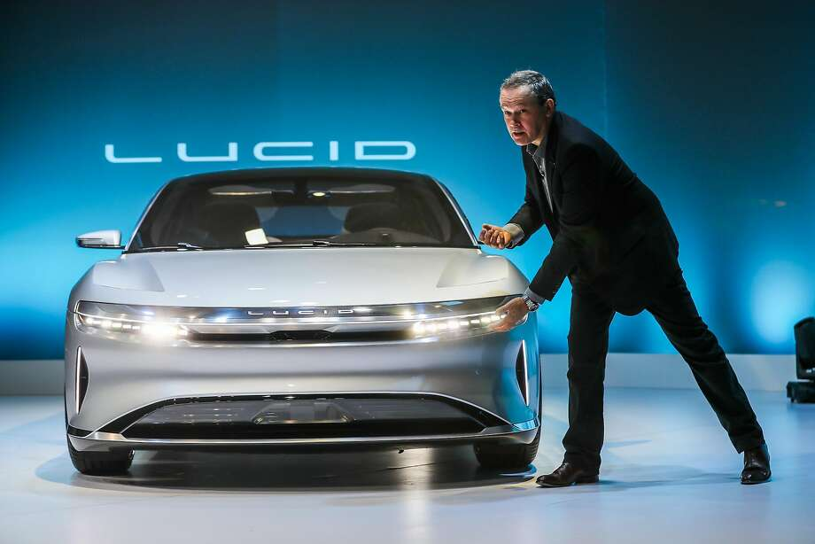 CTO Peter Rawlinson gives a presentation introduces the new Lucid Air, a luxury electric car, in Fremont on Wednesday. Photo: Gabrielle Lurie, The Chronicle
