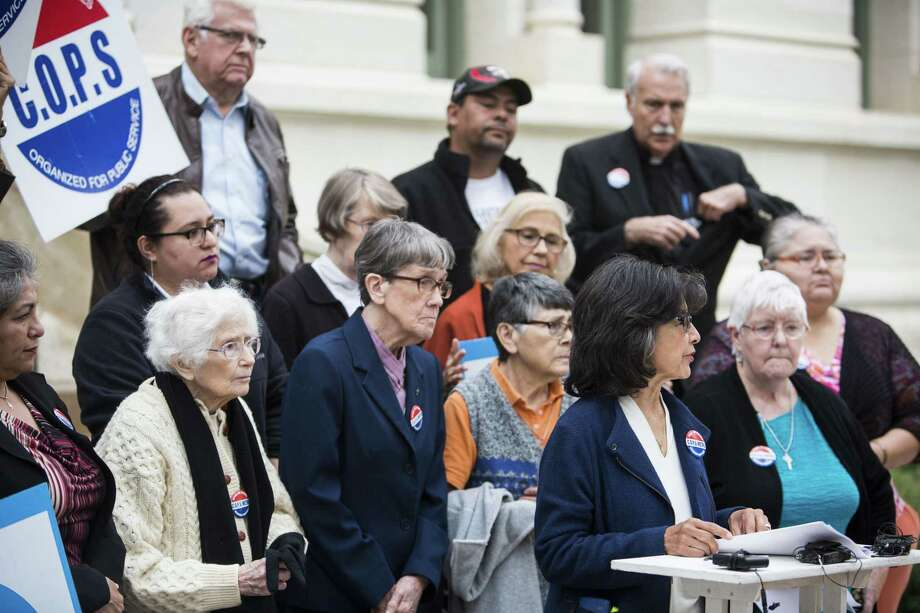 Maria Tijerina talks about the city's proposed housing bond during a news conference by the COPS/Metro Alliance on the steps of City Hall in San Antonio on Dec. 14, 2016. Photo: Carolyn Van Houten /San Antonio Express-News / 2016 San Antonio Express-News