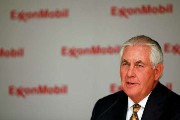 FILE — Rex Tillerson, chairman and chief executive of Exxon Mobil, speaks during a news conference in Dallas, May 25, 2016. President-elect Donald Trump on Dec. 13 officially selected Tillerson to be his secretary of state. In saying he will nominate Tillerson, Trump is dismissing bipartisan concerns that the globe-trotting leader of an energy giant has a too-cozy relationship with Russian President Vladimir Putin. (Ben Torres/The New York Times)