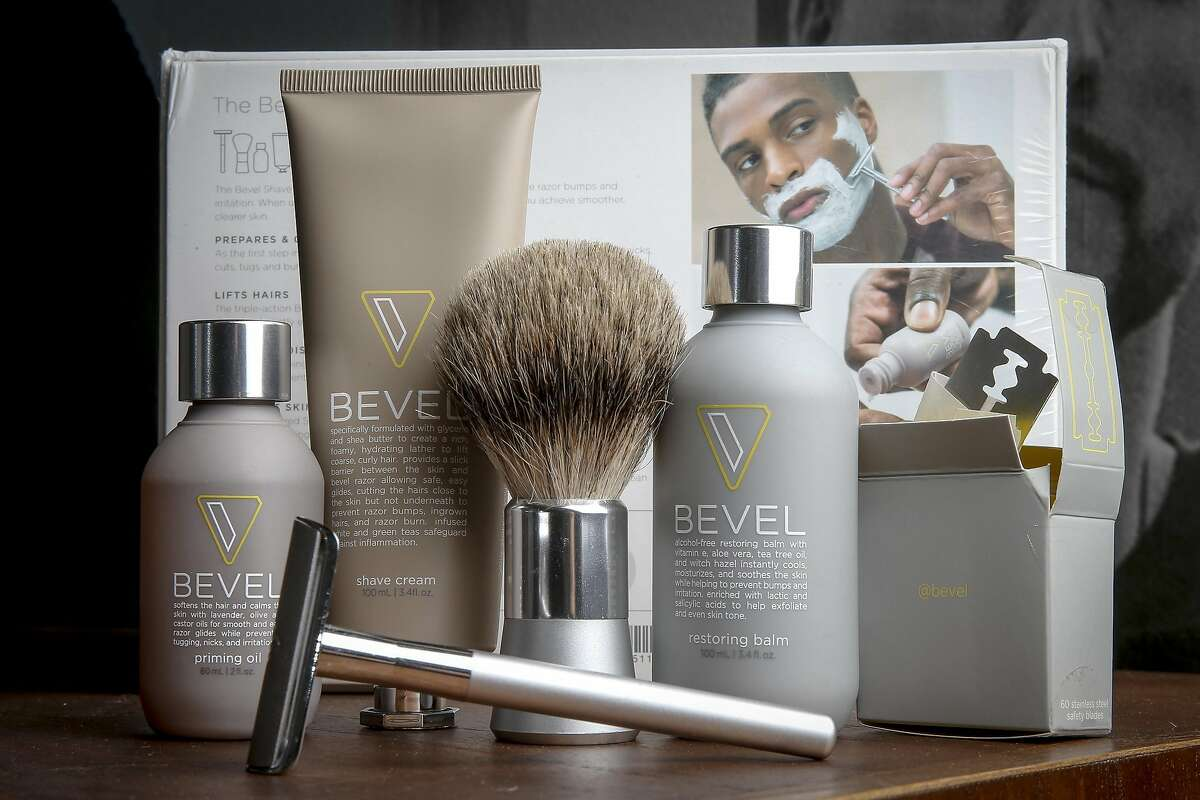 The Walker and Company, Bevel products are on displayed at the company headquarters in Palo Alto, Calif., Wednesday, Dec. 14, 2016. The health and beauty company currently offers a shaving line geared toward people of color.