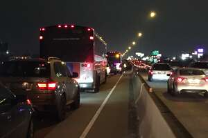 Traffic was backed up along a busy I-45 during the Wednesday evening rush hour.