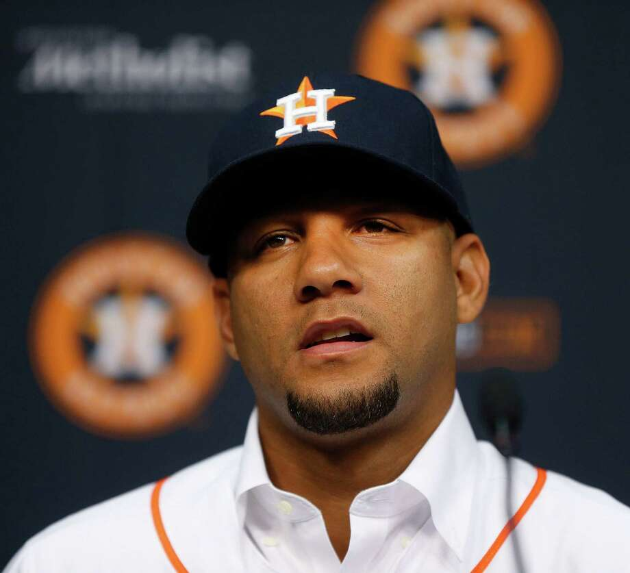 Cuban infielder Yulieski Gurriel speaks to the media after he signed a five-year, $47.5 million contract with the Houston Astros baseball team, Saturday, July 16, 2016, in Houston. (Karen Warren/Houston Chronicle via AP) Photo: Karen Warren, MBI / Houston Chronicle