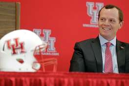 Major Applewhite looks on during a press conference announcing Applewhite as the next University of Houston football head coach at TDECU Stadium Dec. 12, 2016, in Houston. ( James Nielsen / Houston Chronicle )