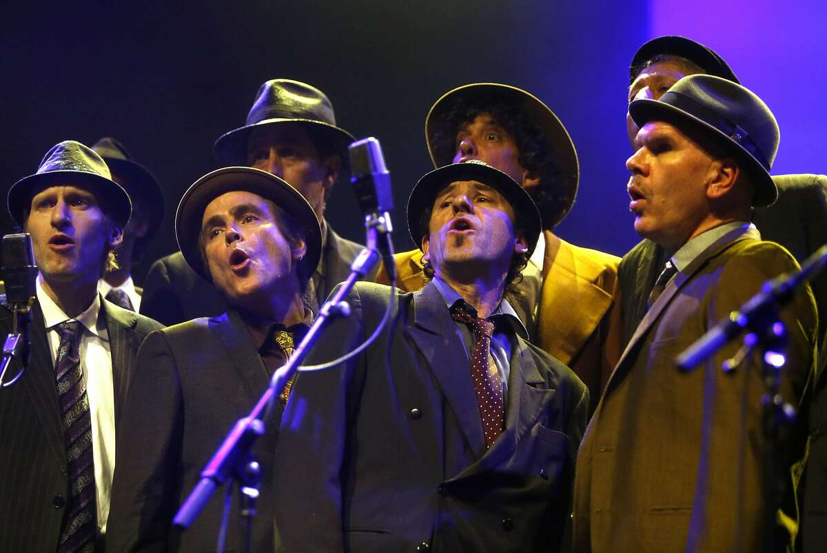 """Conspiracy of Beards performs a rendition of """"Hallelujah"""" during Oakland United: Benefit Concert for Oakland Fire Victims at Fox Theater in Oakland, Calif., on Wednesday, December 14, 2016."""