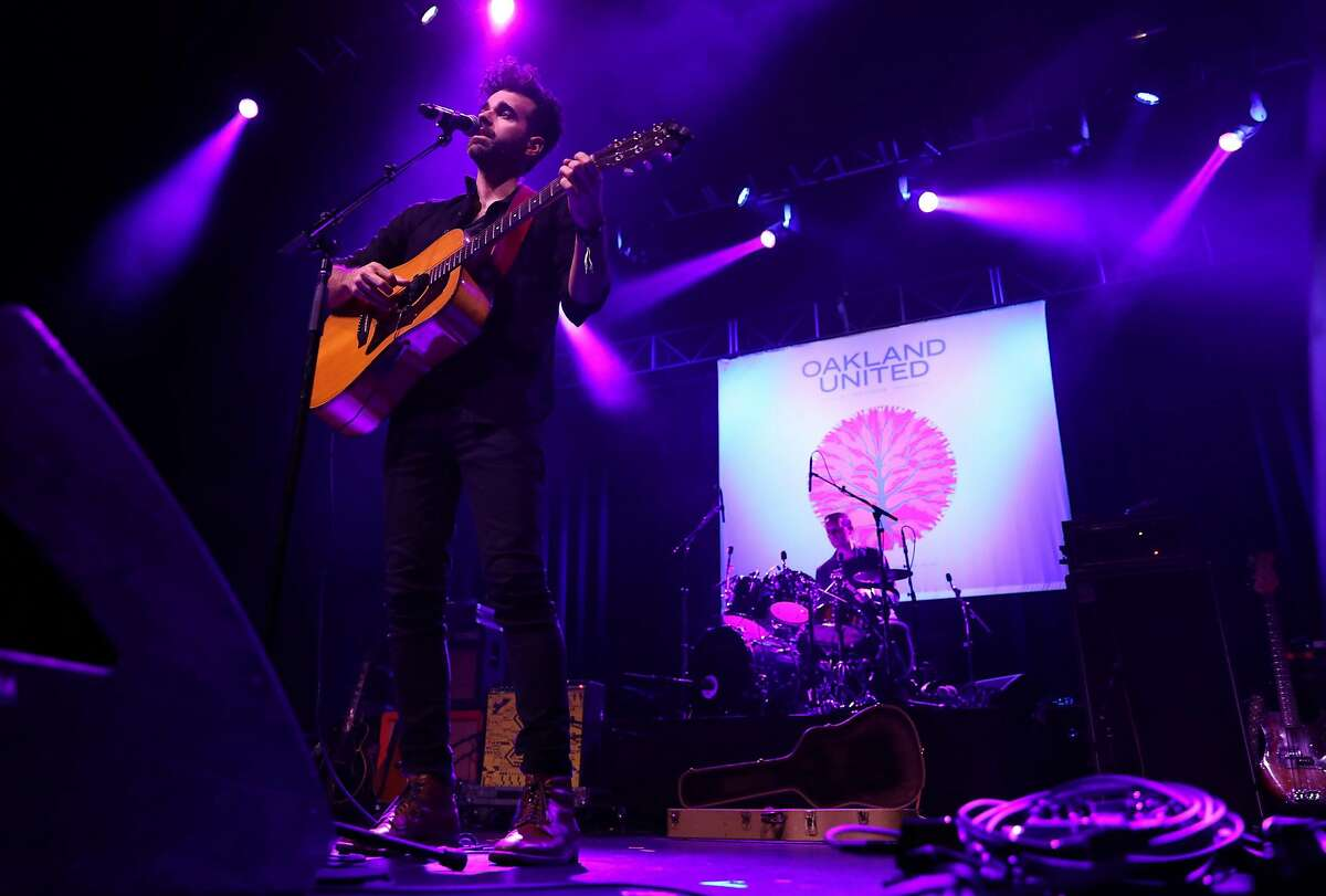 Michael Deni of Geographer during Oakland United: Benefit Concert for Oakland Fire Victims at Fox Theater in Oakland, Calif., on Wednesday, December 14, 2016.