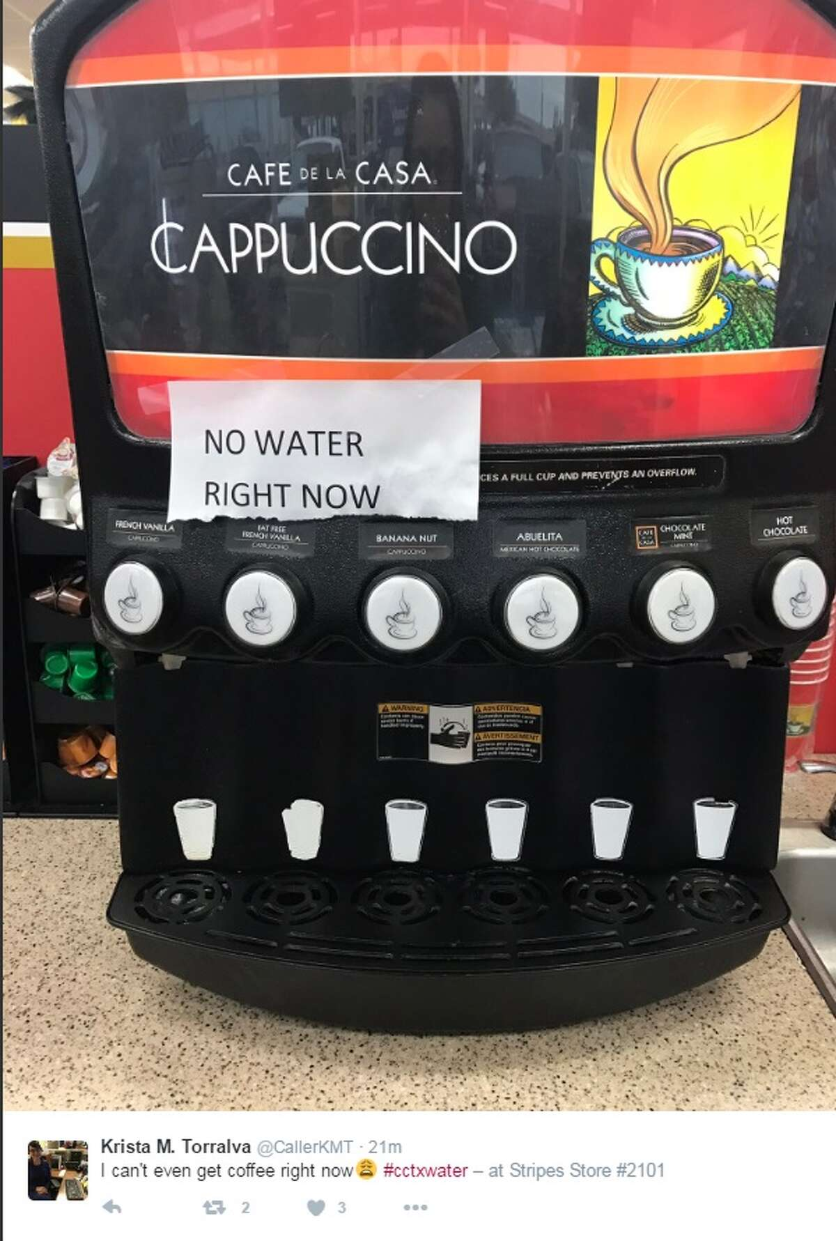 """""""I can't even get coffee right now #cctxwater,"""" @CallerKMT."""
