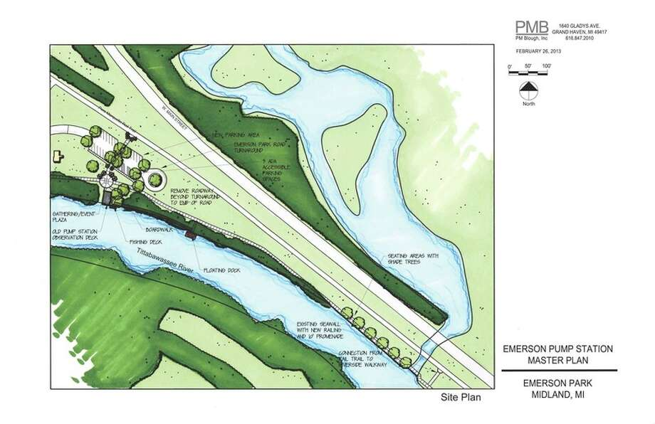 This rendering shows the overall project plan for Emerson Park, including future phases that stretch along the river.