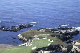 Golf: Aerial scenic view of No 16 at Cypress Point Club. Pebble Beach, CA 1/1/1990--12/31/1999 CREDIT: Fred Vuich (Photo by Fred Vuich /Sports Illustrated/Getty Images) (Set Number:  )