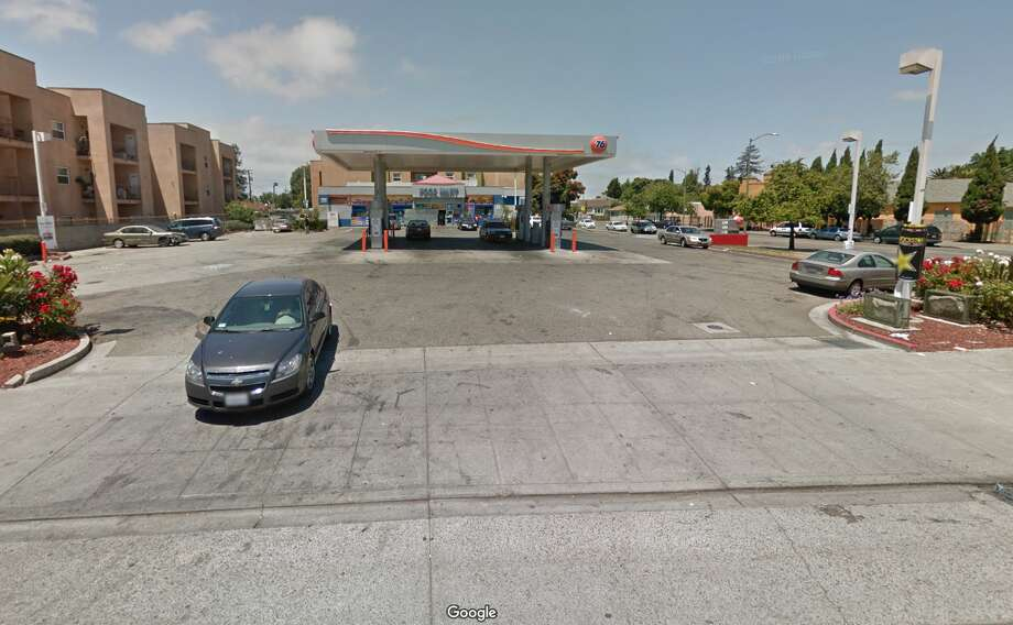 Two men were gunned down at an Oakland gas station Wednesday night, police said.