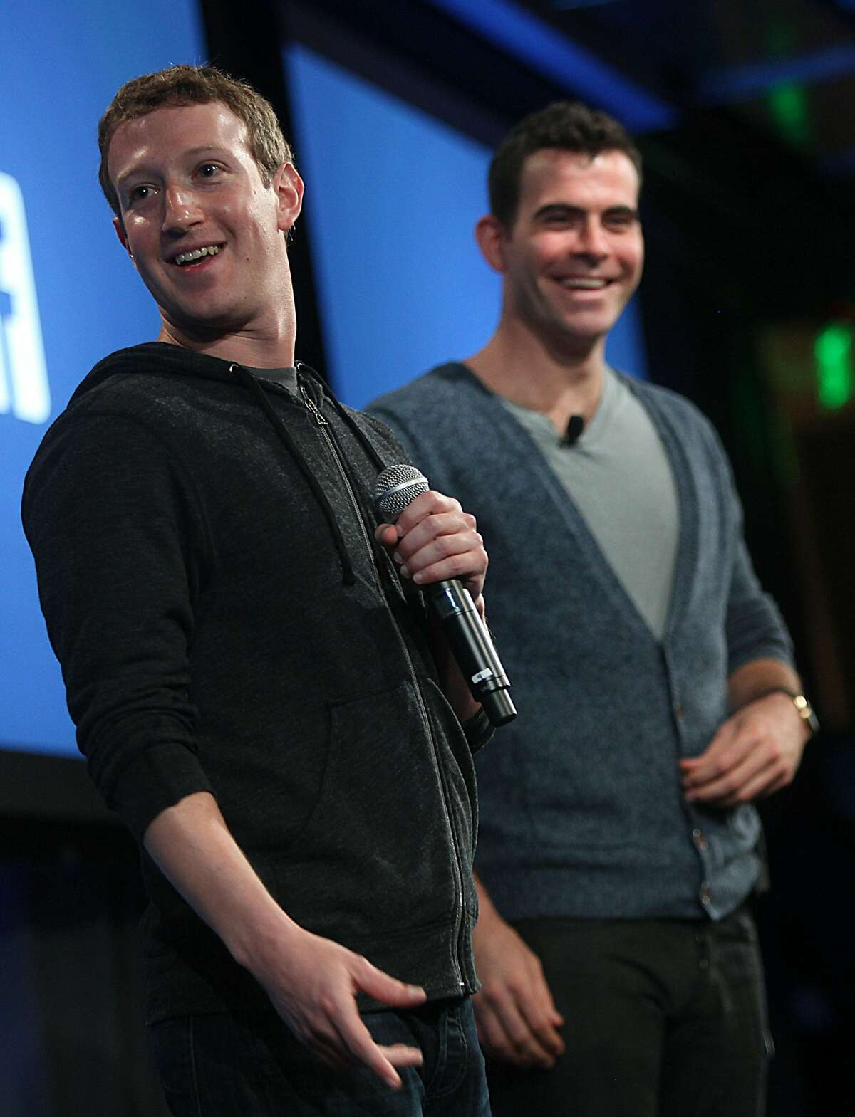Chairman and chief executive Mark Zuckerberg (left) with product manager Adam Mosseri (right) introduce Facebook Home on Android at Facebook headquarters in Menlo Park, California, on Thursday, April 4, 2013.