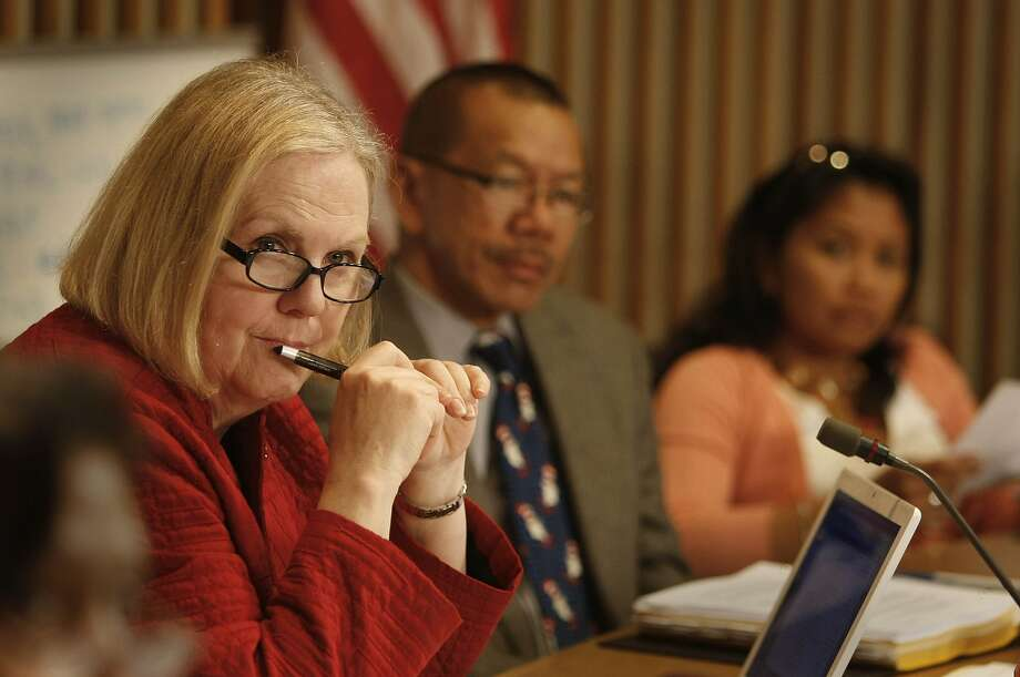 Jill Wynns (left), with fellow school board members Norman Yee and Hydra Mendoza in 2009, is stepping down from the board after 24 years. Photo: Michael Macor, The Chronicle