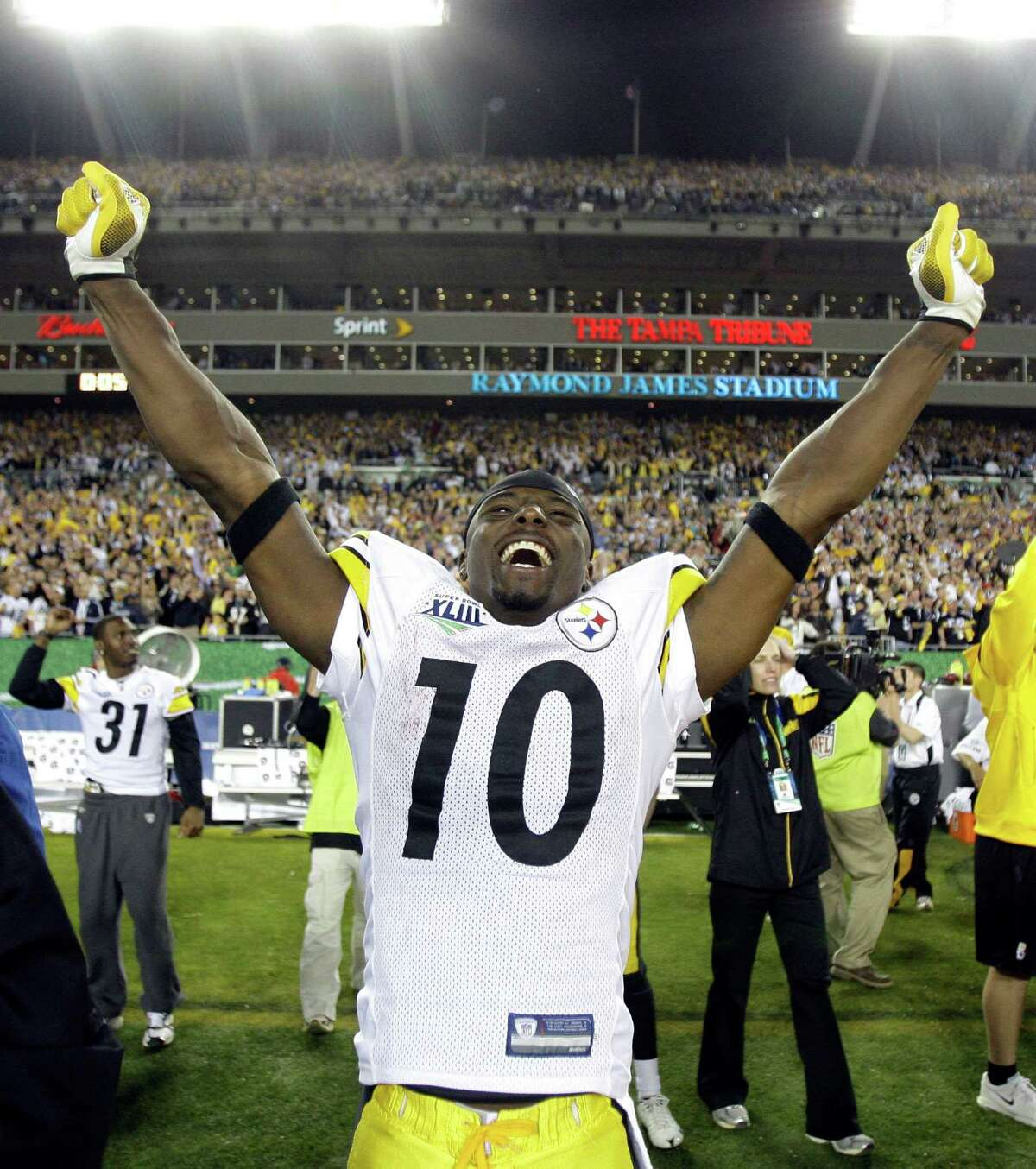 The Steelers and Santonio Holmes had their own catch to celebrate.