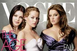 Presley appears on the cover of Vogue with her daughter, Lisa Marie Presley, and granddaughter Riley Keough.