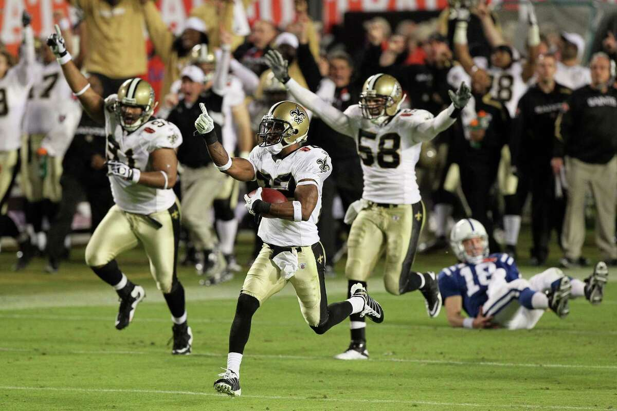 Tracy Porter ended Peyton Manning's comeback hopes with a 74-yard pick-six to give the Saints their first title.