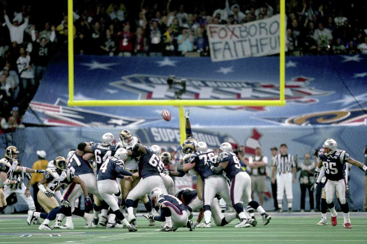 Adam Vinatieri's 48-yard field goal on the final play of the game was true from the moment it left his foot to give the Patriots the victory after a last-minute drive engineered by young Tom Brady against the defending Super Bowl champions.
