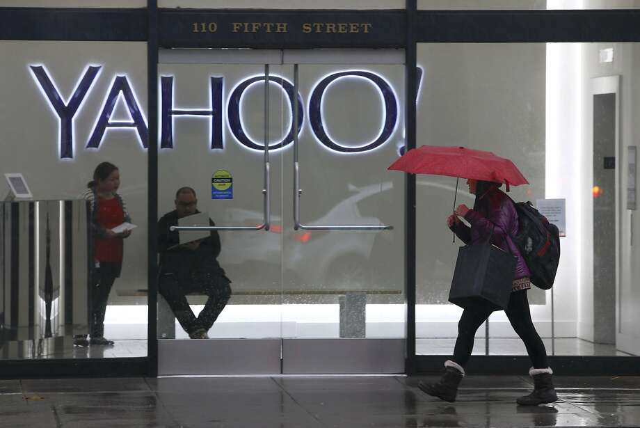 The entrance to the Yahoo office building on Fifth Street in San Francisco. Yahoo shareholders on Thursday approved selling the company's Internet properties for $4.48 billion. Photo: Paul Chinn, The Chronicle