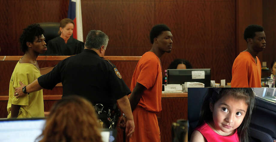 Ferrell Dardar, then-17, center, appears before Judge Katherine Cabaniss at the Harris County Criminal Courthouse on Monday, Dec. 5, 2016, facing capital murder charges with two others in the shooting death weeks earlier of 4-year-old Ava Castillo (inset) during a robbery as her family was unloading groceries at their Greenspoint-area apartment complex. ( Karen Warren / Houston Chronicle ) Photo: Karen Warren/Houston Chronicle