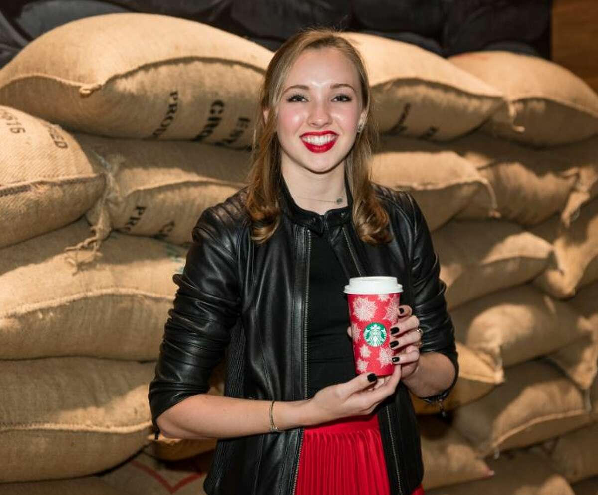 Texas A&M University student Christina Anderson's poinsettia-themed cup design was chosen by Starbucks for its coffee shops across Latin America, China and East Asia.