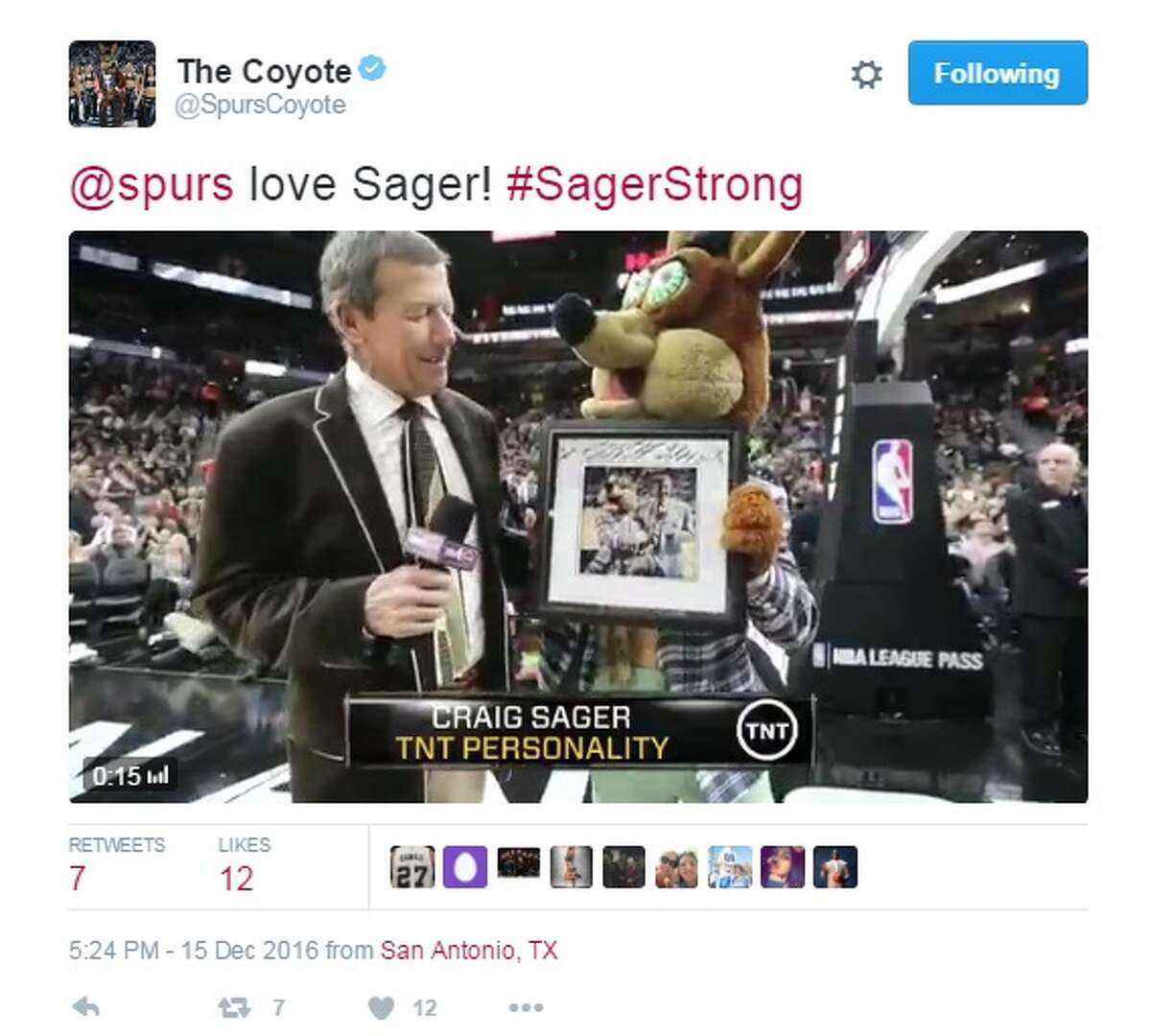 """The Spurs Coyote """"@spurs love Sager! #SagerStrong,"""" @SpursCoyote."""
