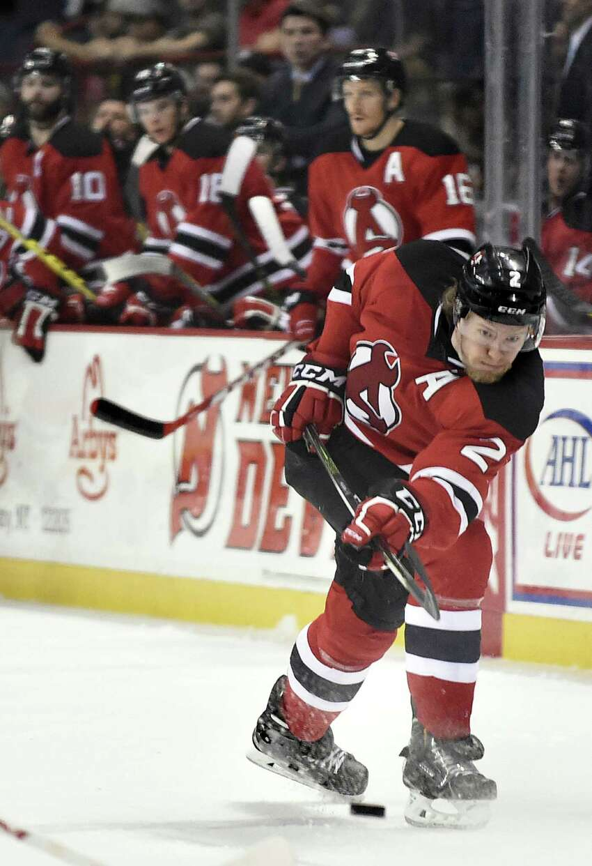 Devils' Seth Helgeson shoots the puck during Game 5 of the American Hockey League quarterfinal playoff series against the Marlies on Thursday, May 12, 2016, at Times Union Center in Albany, N.Y. (Cindy Schultz / Times Union) ORG XMIT: MER2016102715305713 ORG XMIT: MER2016102715344231