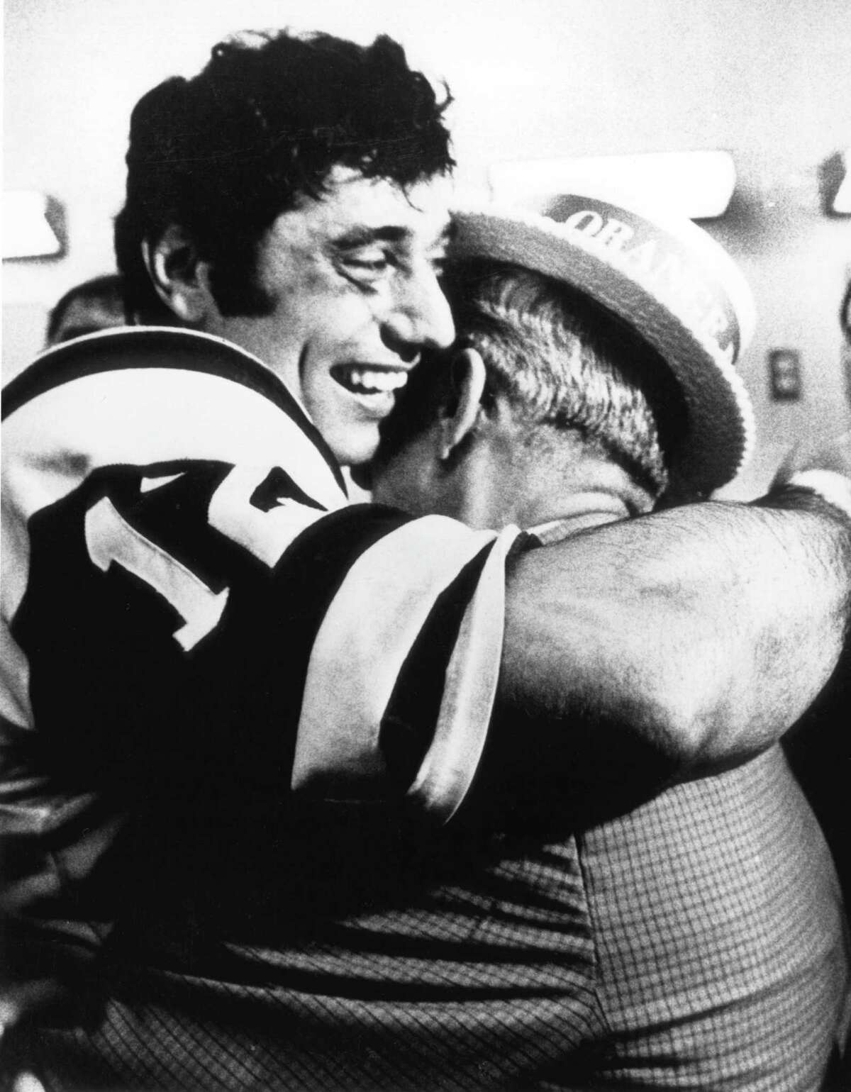 New York Jets Hall o Fame quarterback Joe Namath hugs his father after a 16-7 win over the Baltimore Colts in Super Bowl III on January 12, 1969 at Orange Bowl. Natmath was voted the game's MVP after completing 17 of 28 passes for 206-yards. (Photo by Fred Roe/Getty Images)