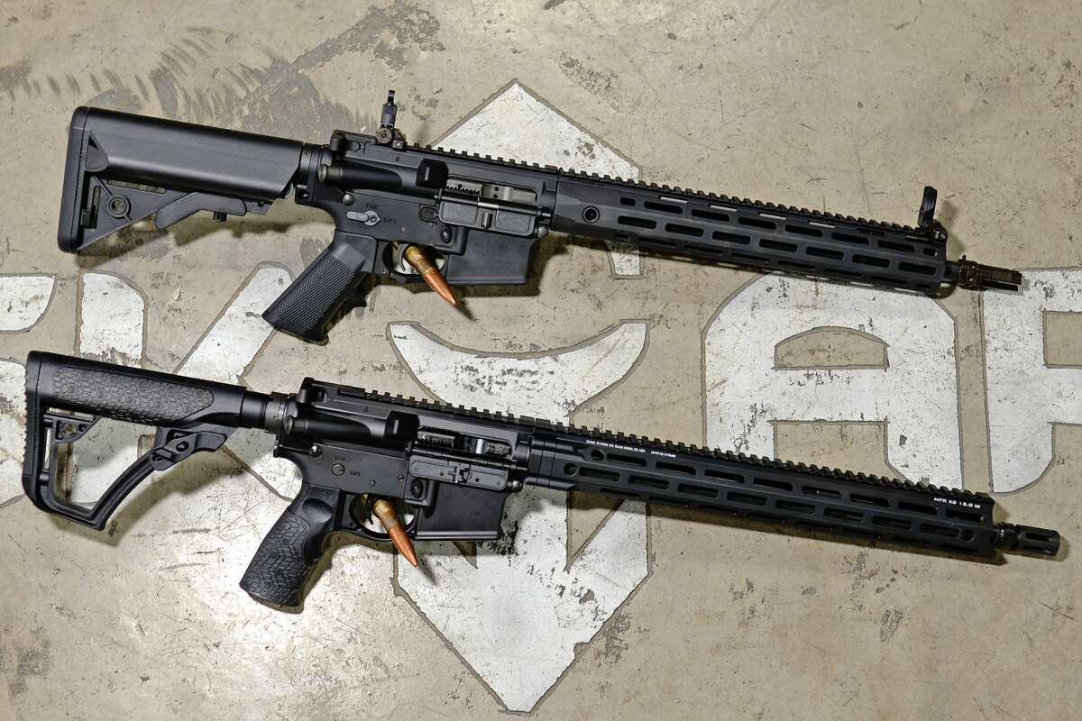 Top gift items from SK Arms - top, Knight's Armament SR-15 Mod 2 rifle, bottom, Daniel Defense DDM4 V7 rifle, photographed Thursday, Dec. 15, 2016, at SK Arms. James Durbin/Reporter-Telegram