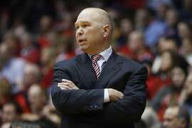St. Mary's head coach Randy Bennett works the bench in the second half an NCAA college basketball game against Dayton, Saturday, Nov. 19, 2016, in Dayton, Ohio. St. Mary's won 61-57. (AP Photo/John Minchillo)