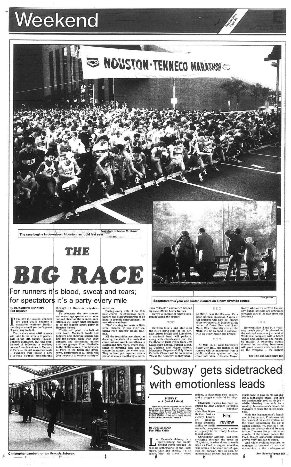 Houston Post inside page (HISTORIC) Â?- January 17, 1986 - section E, page 1. THE BIG RACE. For runners it's blood, sweat and tears; for spectators it's a party every mile