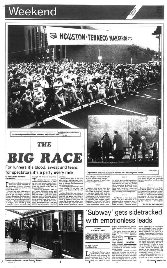 Houston Post inside page (HISTORIC) – January 17, 1986 - section E, page 1.  THE BIG RACE. For runners it's blood, sweat and tears; for spectators it's a party every mile Photo: HP Staff / Houston Chronicle