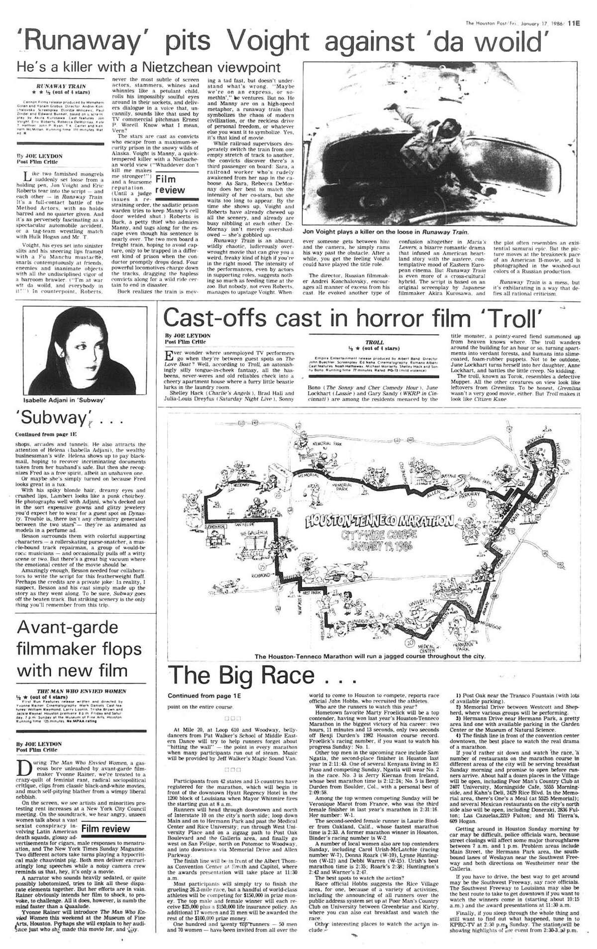 Houston Post inside page (HISTORIC) Â?- January 17, 1986 - section E, page 17. The Big Race ... The Houston-Tenneco Marathon