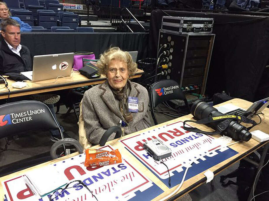 Betty Flood of Cuyler News Service in the media pen at Donald Trump's campaign rally at the Times Union Center in Albany on April 11, 2016. (Casey Seiler, Times Union) Photo: Casey Seiler / Times Union