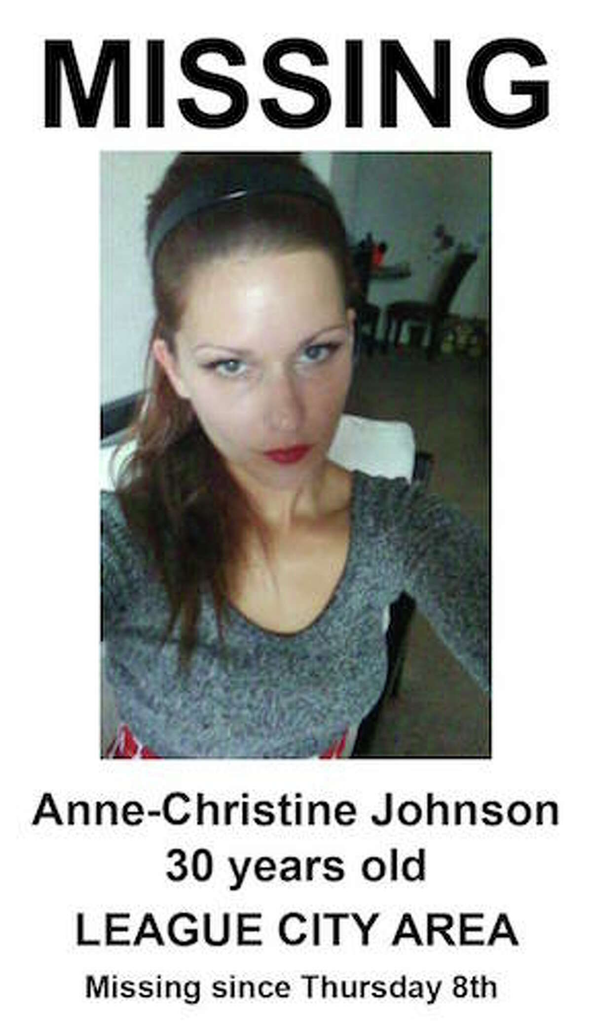 League City Police Department is seeking assistance in locating a 30- year-old League City woman. Anne-Christine Johnson was reported missing Monday, December 12, 2016 by her father. Last contact with Johnson was made by electronic communication on the evening of December 8, 2016. Anne is described as a white female, approximately 5' 2é?