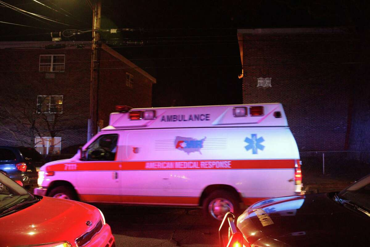 An ambulance leaves the scene on Palisade Avenue where a shooting was reported. The victim, whose name was not released Wednesday, died of a single gunshot wound, according to city spokesman Av Harris. Bridgeport, CT, Dec. 15, 2016.