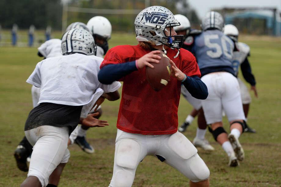 West Orange-Stark quarterback Jack Dallas throws during practice on Wednesday.  Photo taken Wednesday 12/14/16 Ryan Pelham/The Enterprise Photo: Ryan Pelham / ©2016 The Beaumont Enterprise/Ryan Pelham