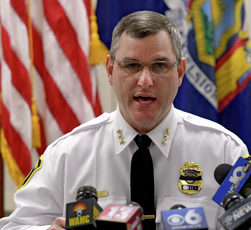 Albany Police Chief Brendan Cox closed the investigation Tuesday Nov. 22, 2016, which had one of his members accused of having sex with a minor. The press conference was held at the Public Safety building in Albany, N.Y. (Skip Dickstein/Times Union)