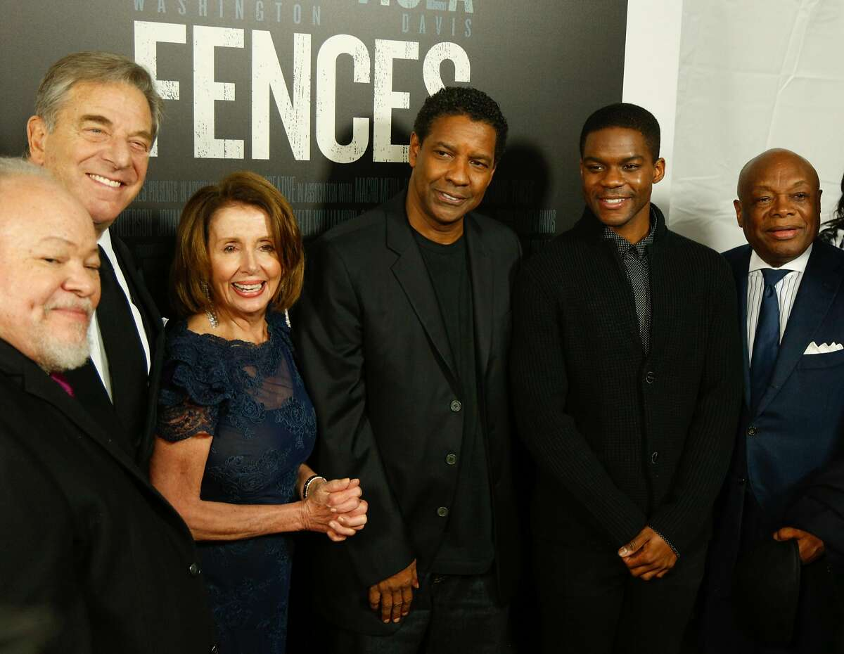 From left, Stephen Henderson, Paul Pelosi, Nancy Pelosi, Denzel Washington, Jovan Adepo and Former SF Mayor Willie Brown walk the red carpet before the screening of the movie 'Fences' at the Curran Theater in San Francisco on Thursday night, December 15, 2016 . Brian Feulner, Special to the Chronicle
