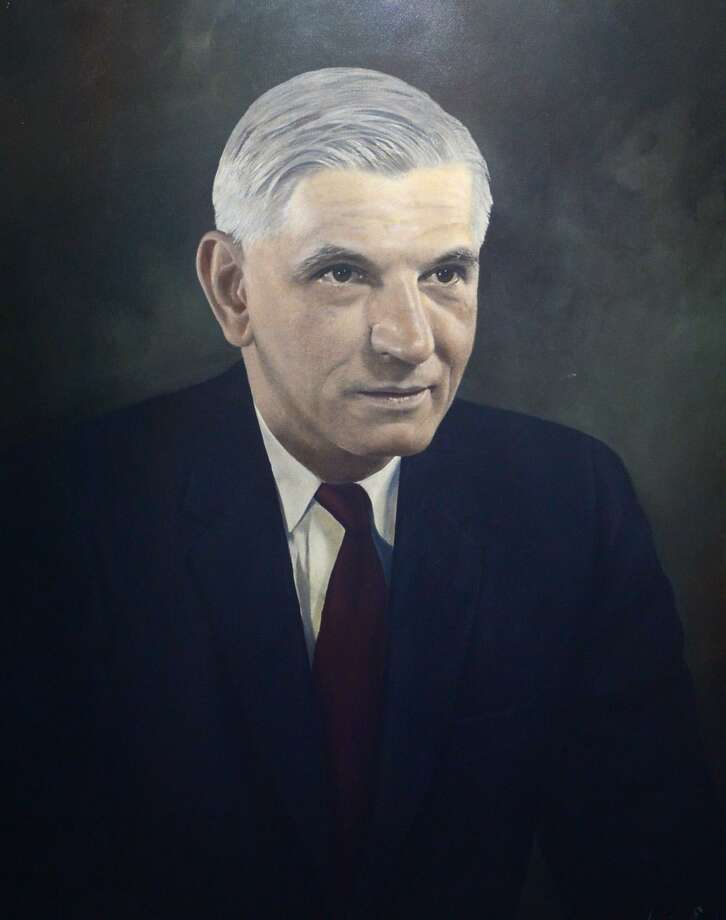 A portrait of five-term Norwalk Mayor Irving C. Freese hangs in City Hall. Photo: Erik Trautmann / Hearst Connecticut Media / Norwalk Hour