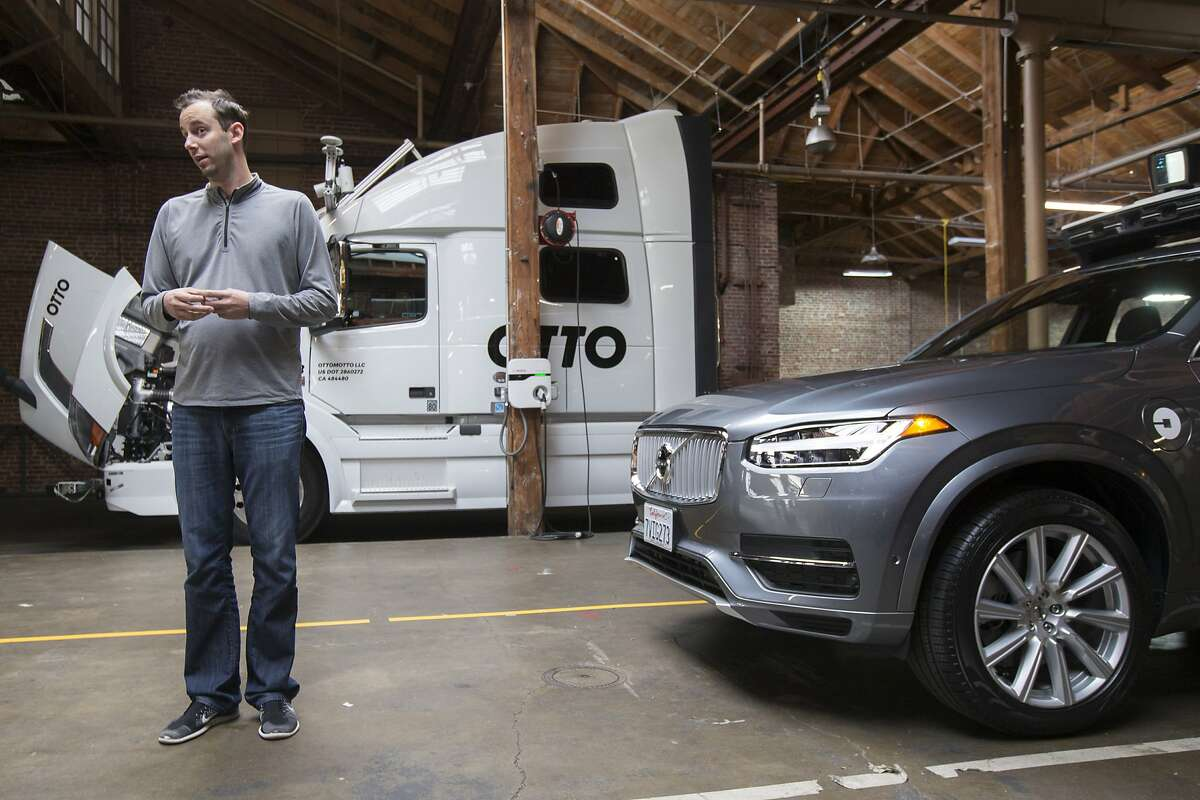 Anthony Levandowski, who is the head of Uber�s Advanced Technology Group and the co-founder of Otto, is seen during an Uber news conference on Tuesday, Dec. 13, 2016 in San Francisco, Calif.