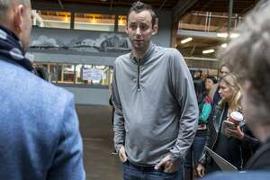 Anthony Levandowski (center), who is the head of Uber�s Advanced Technology Group and the co-founder of Otto, is seen during an Uber news conference on Tuesday, Dec. 13, 2016 in San Francisco, Calif.